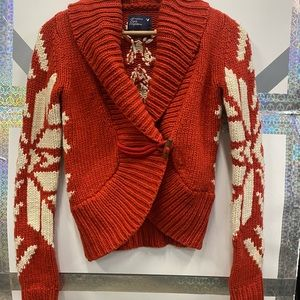 American Eagle Wide Collar Cropped Toggle Cable-knit Cardigan